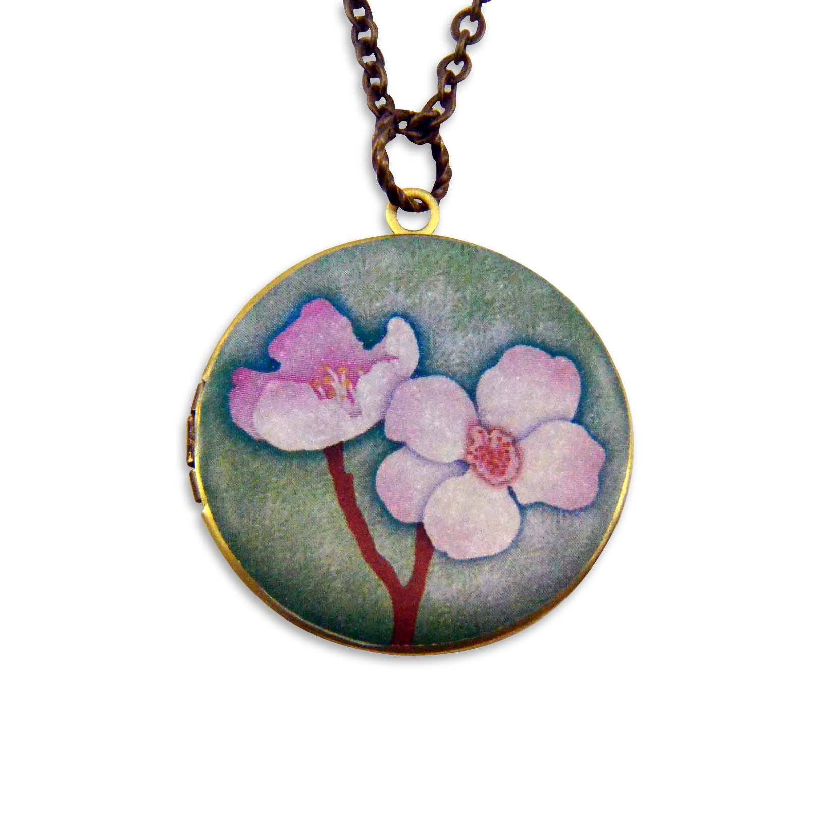 Cherry Blossom Vintage Theme Photo Locket - Gwen Delicious Jewelry Designs