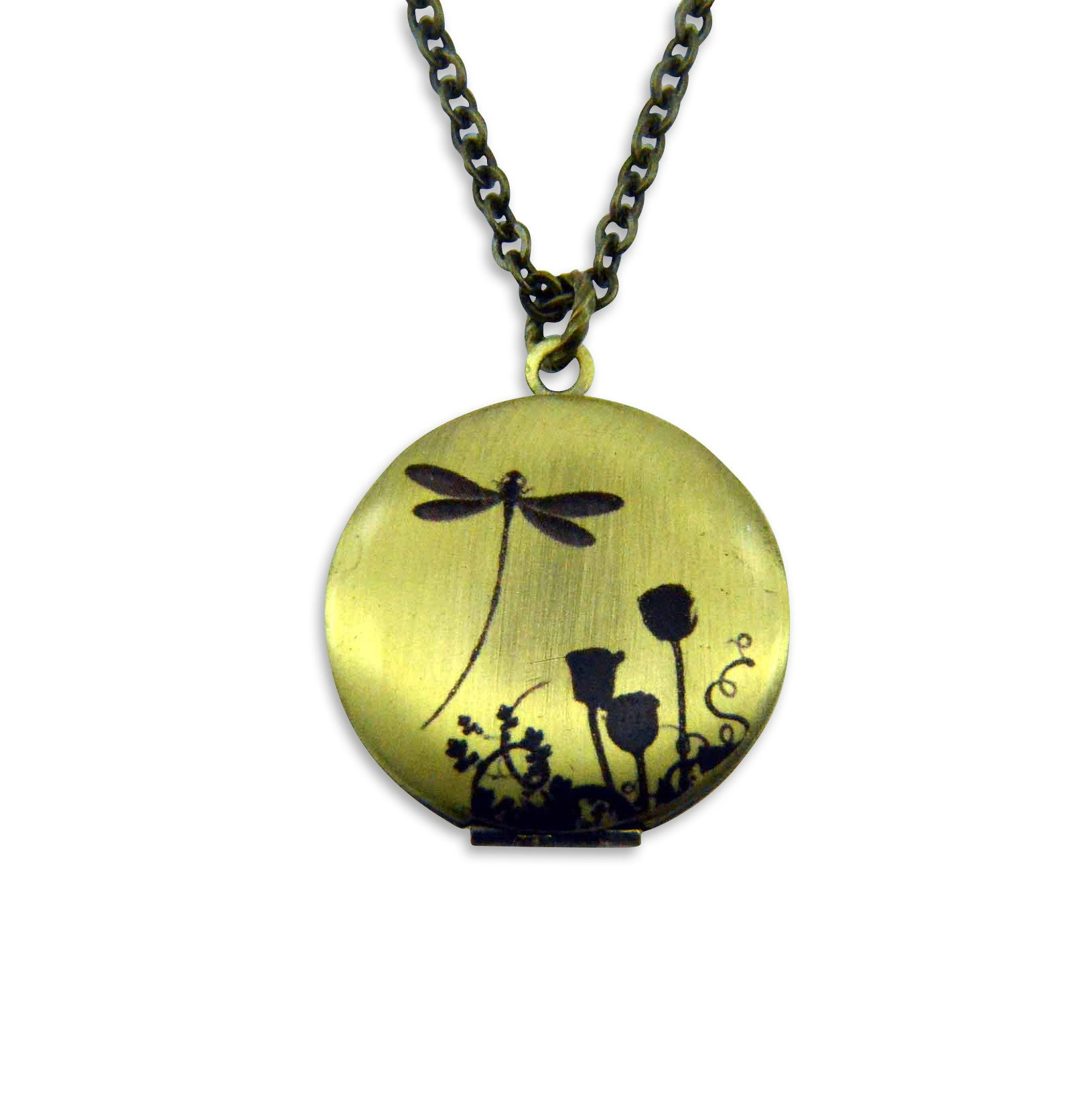 Dragon Fly Shadow Vintage Theme Photo Locket - Gwen Delicious Jewelry Designs