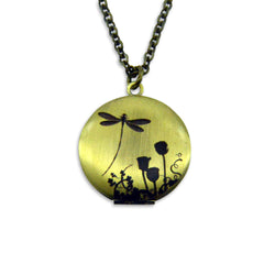 Dragon Fly Shadow Vintage Theme Photo Locket