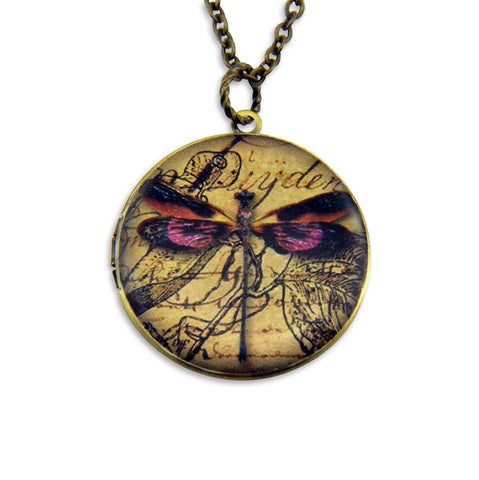 Dragon Fly Vintage Theme Photo Locket