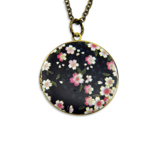 Black Blossoms Vintage Theme Photo Locket - Gwen Delicious Jewelry Designs