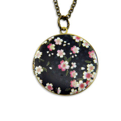Black Blossoms Vintage Theme Photo Locket