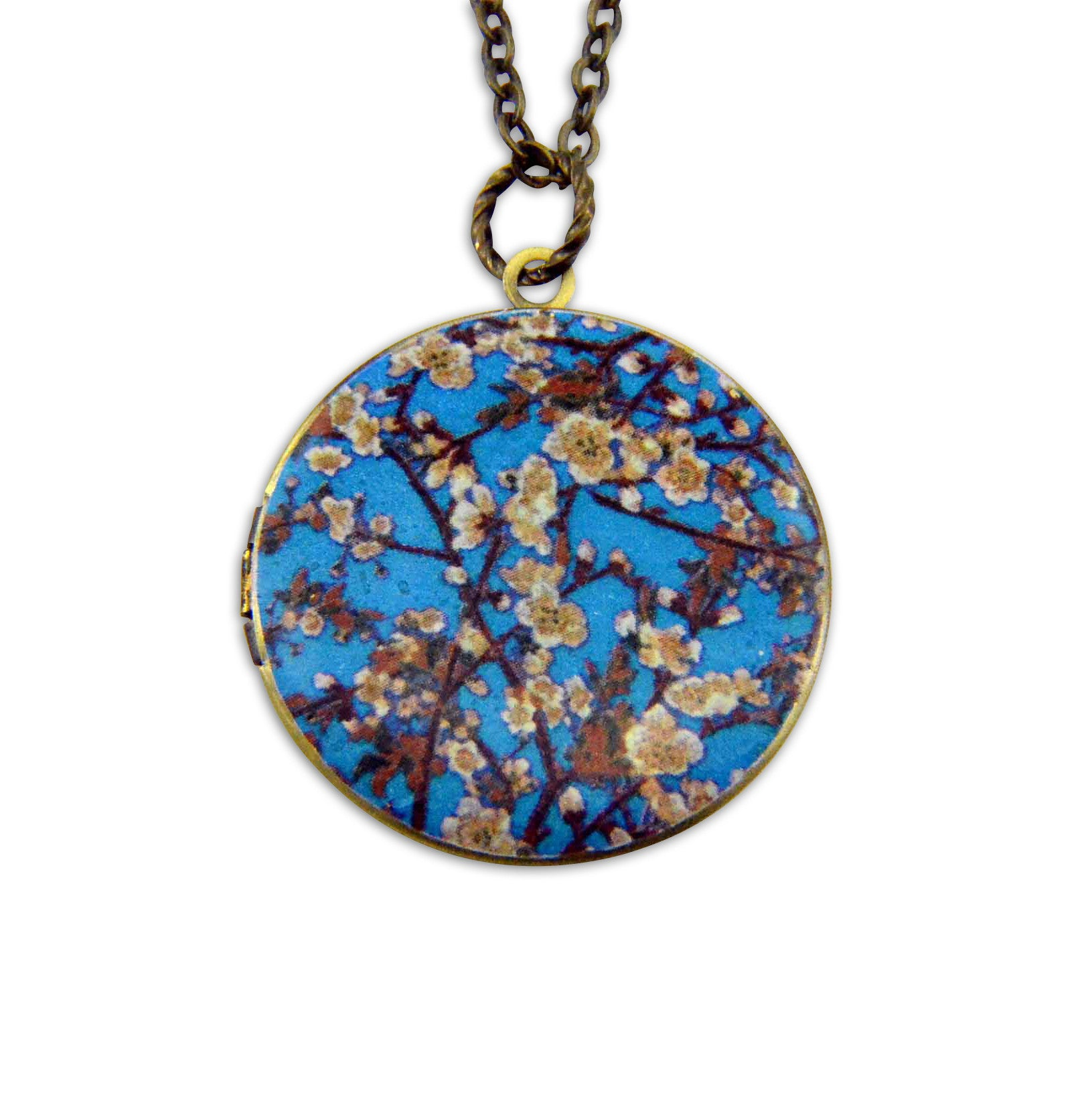 Blue Blossoms Vintage Theme Photo Locket - Gwen Delicious Jewelry Designs