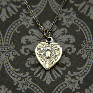 Vintage Heart Honey Bee Necklace - Gwen Delicious Jewelry Designs