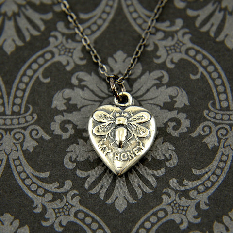 Vintage Heart Honey Bee Necklace