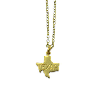 Small Gold State Charm Necklace - Gwen Delicious Jewelry Designs
