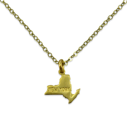 Small Gold State Charm Necklace