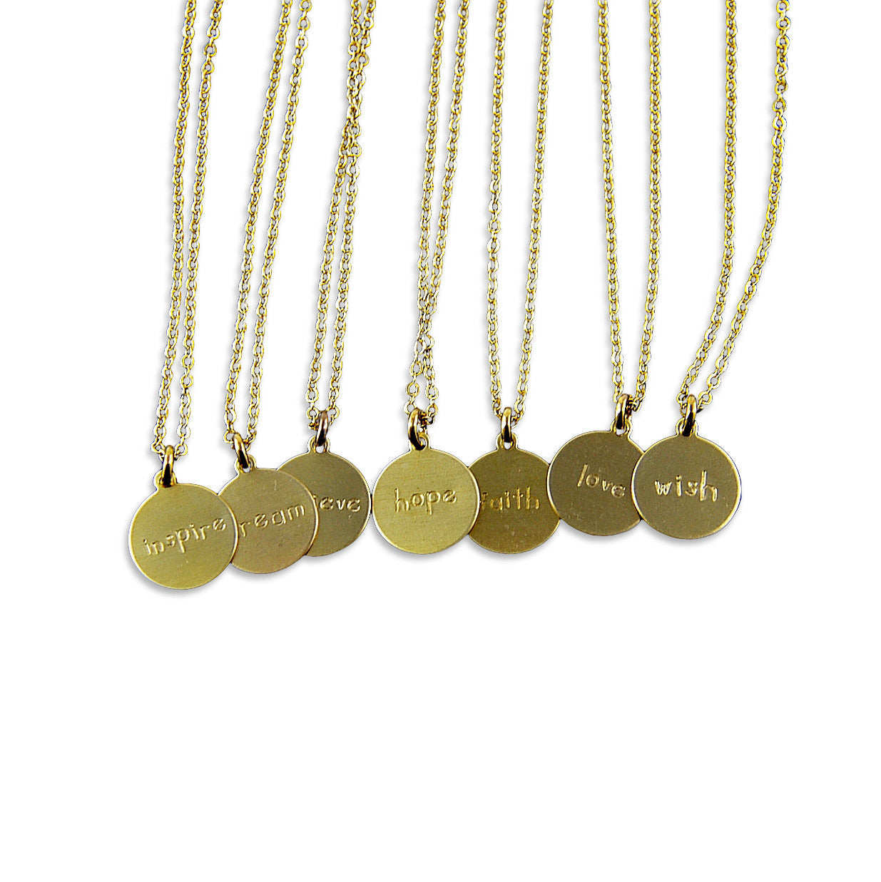 Inspirational Word Necklace - Dream, Wish, Faith, Believe, Inspire, Imagine, Love, Hope - Gwen Delicious Jewelry Designs