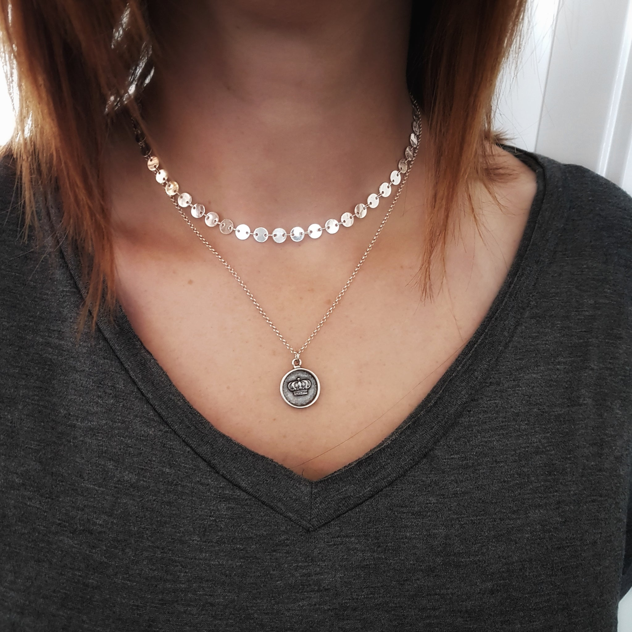 Tiny Boho Coin Choker Necklace - Gwen Delicious Jewelry Designs