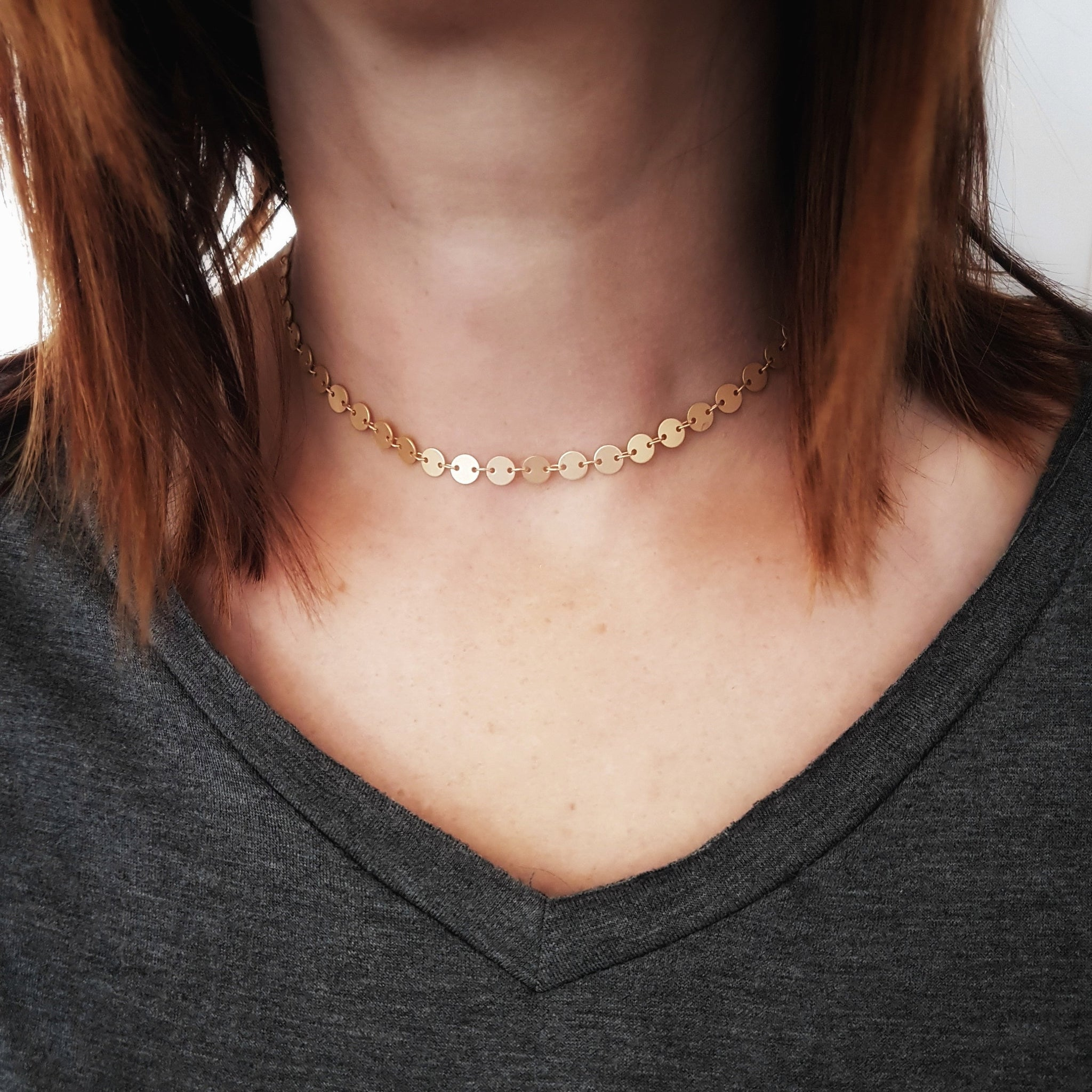 Gold Coin Choker Matte Gold Disc Choker  Gold Coin Necklace Gold Statement Choker Tattoo Choker Bridesmaid Necklace Bohemian Necklace - Gwen Delicious Jewelry Designs