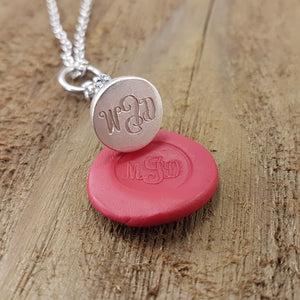 Personalized Wax Seal Necklace My Design Pendant Custom Design Jewelry Gold Engraved Jewelry My Name Wax Seal Stamp Gift for Wedding - Gwen Delicious Jewelry Designs