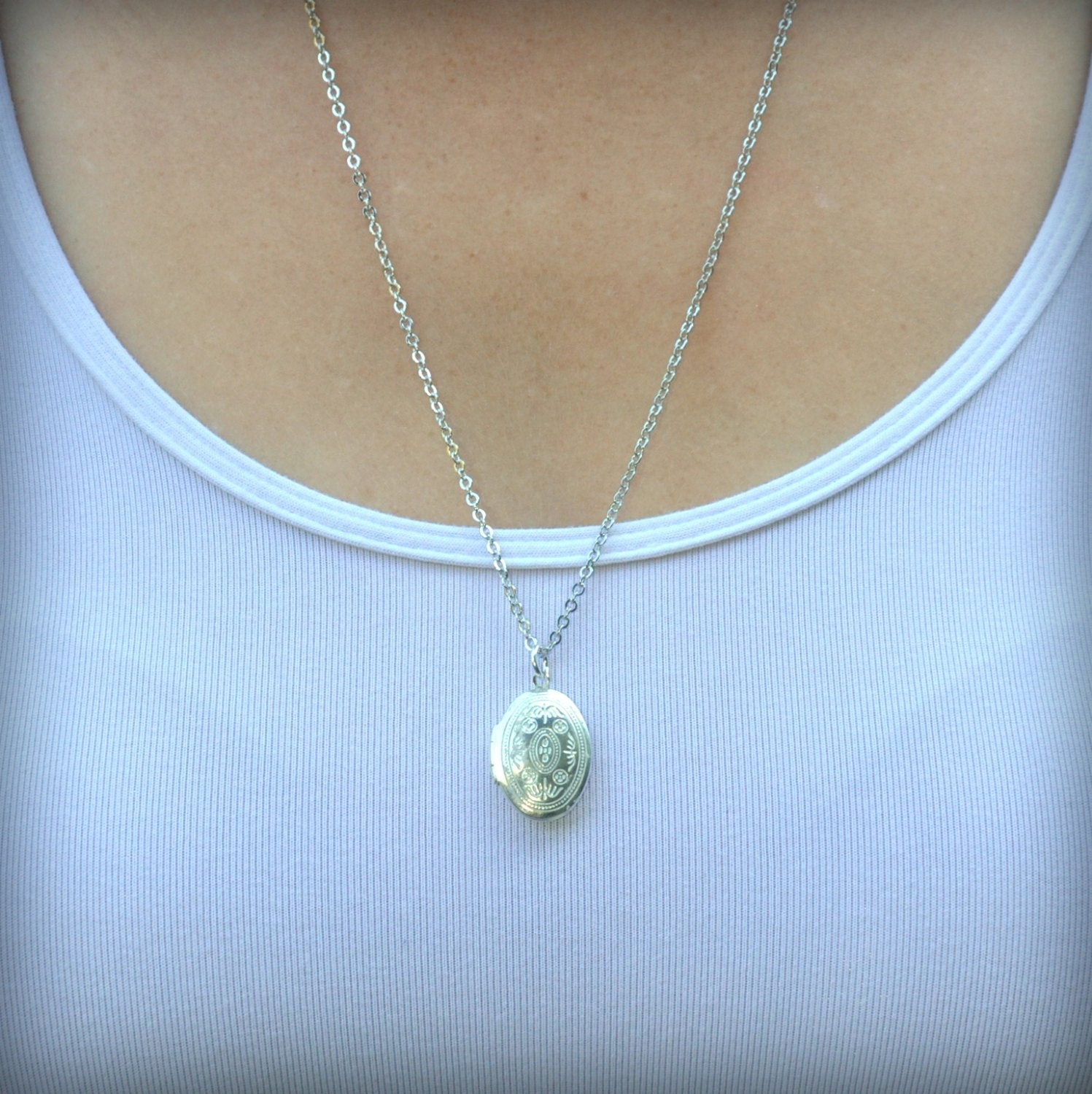 Small White Ornate Locket Necklace -  Oval White Pendant Delicate - Simple and Long Fashion - Gwen Delicious Jewelry Designs