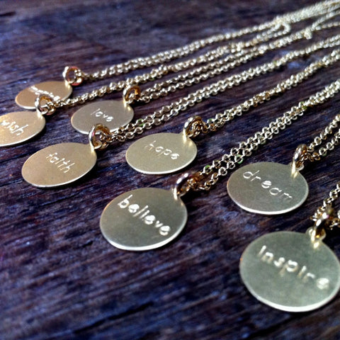 Inspirational Word Necklace - Dream, Wish, Faith, Believe, Inspire, Imagine, Love, Hope
