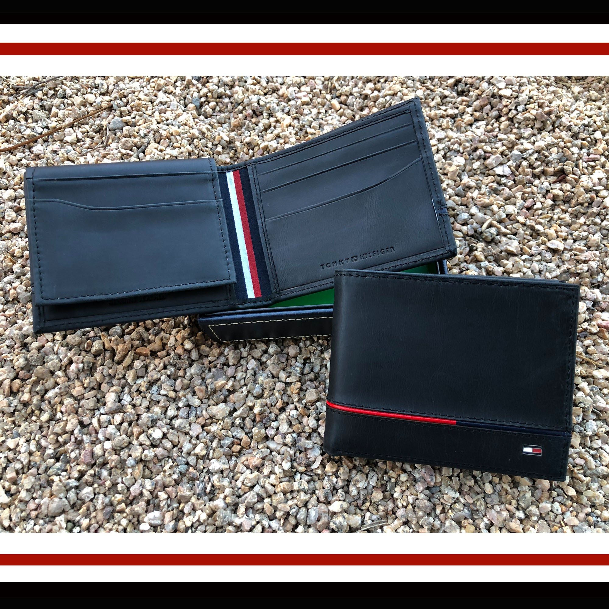 Tommy Hilfiger Leather Leif RFID Bifold Wallet with Flip ID