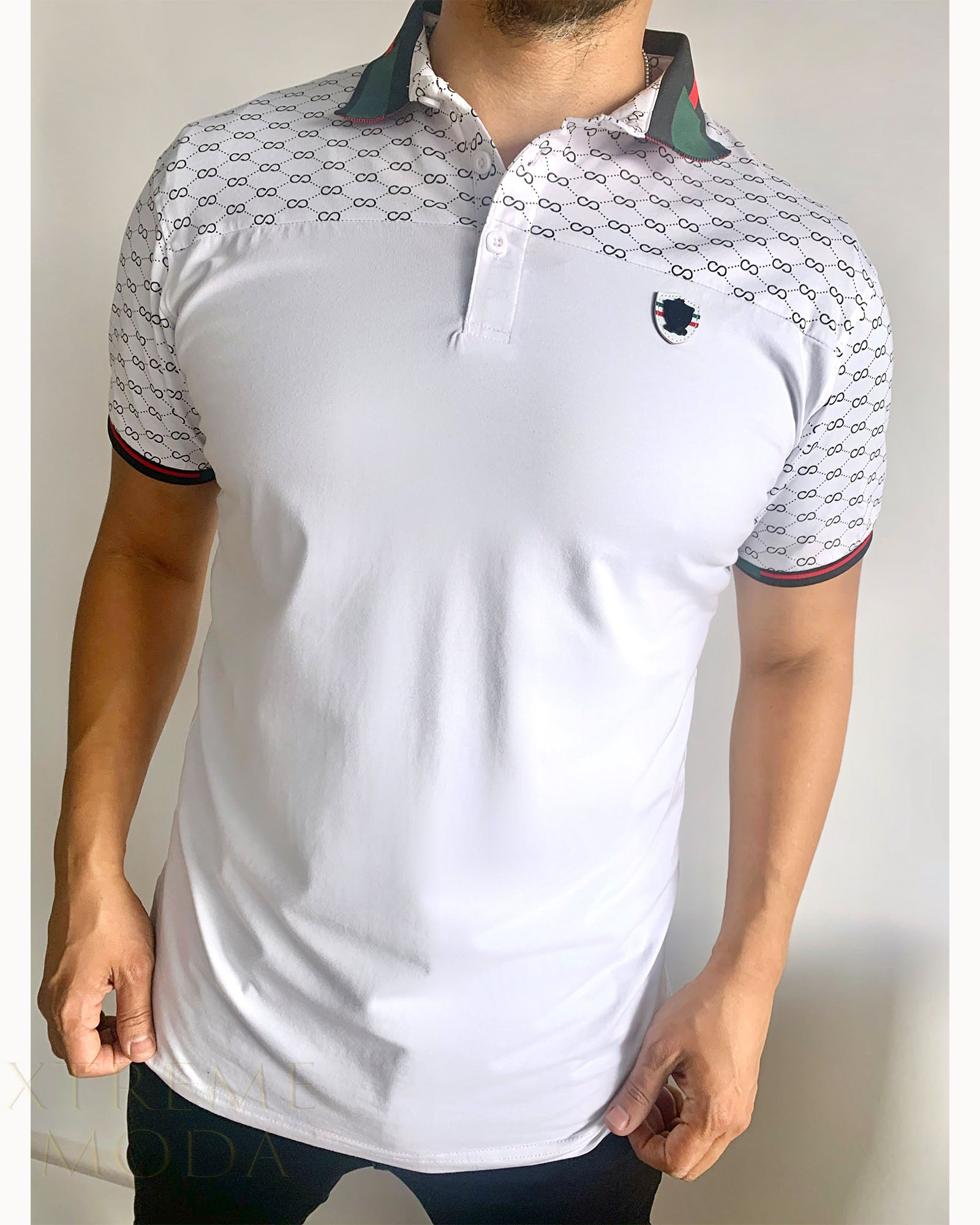 slim fit  polo shirt  PCC-008 White