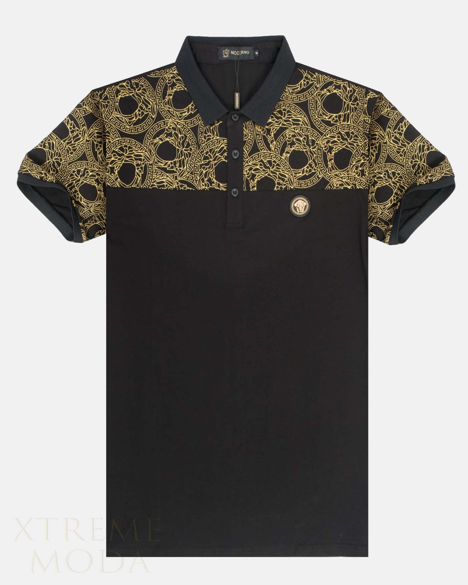 Modern fit  polo shirt  with Gold print Logo Black
