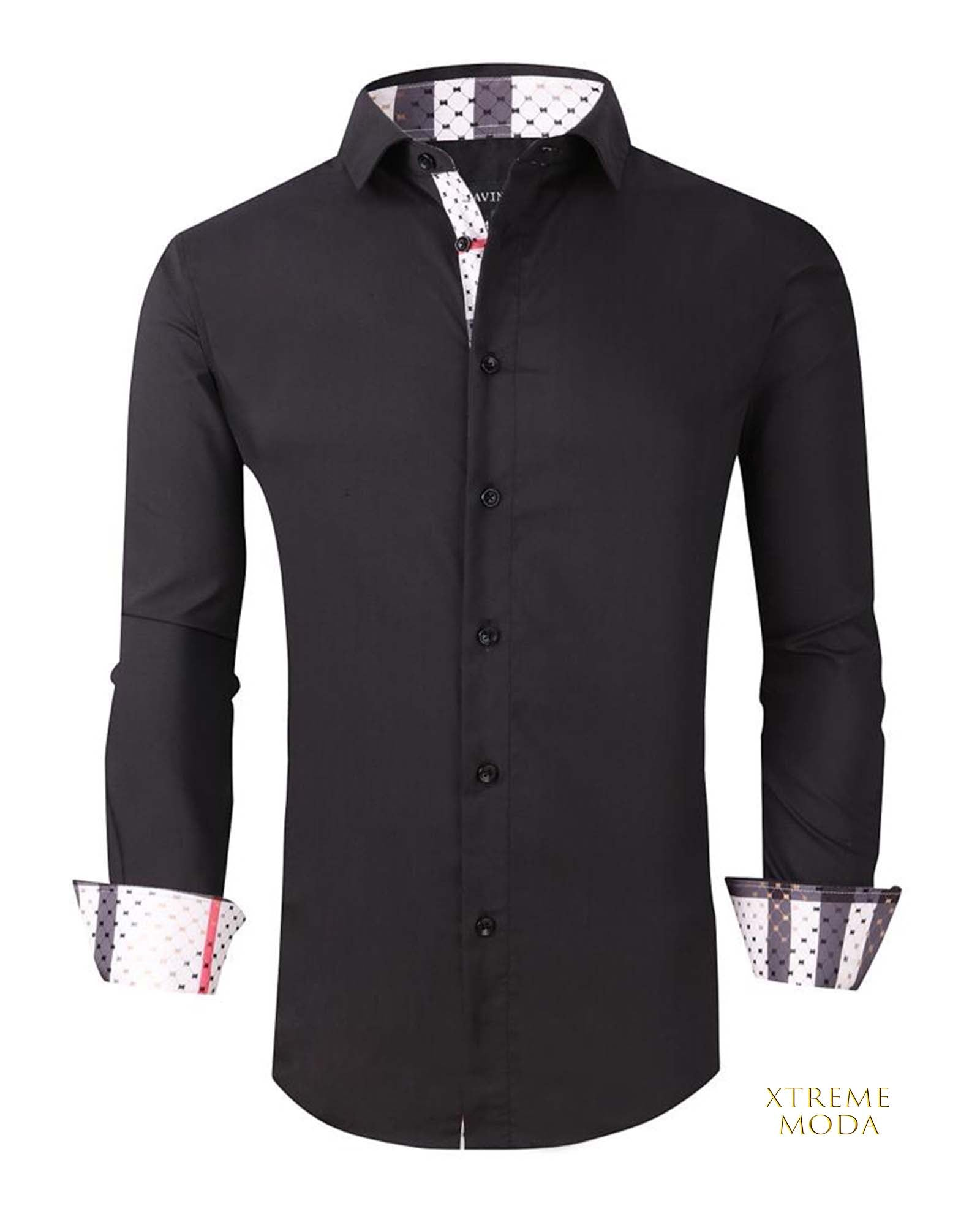 Regular fit  stretch shirt  020-0400 Black 1