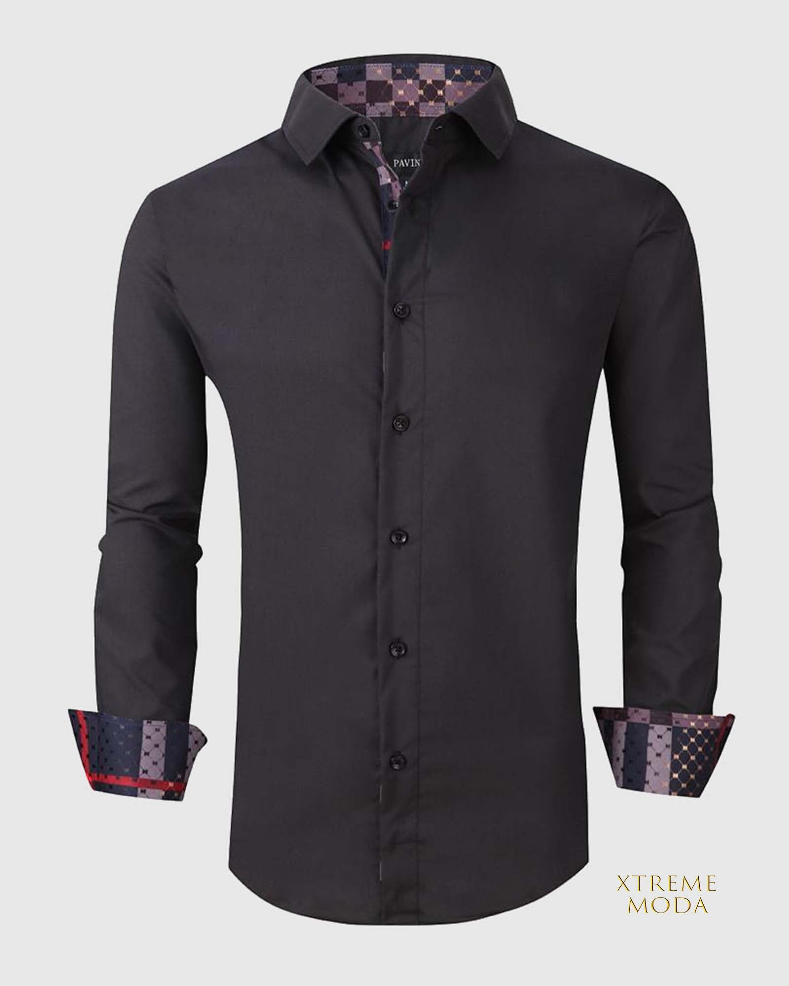 Regular fit  stretch shirt  020-0400 Black 2