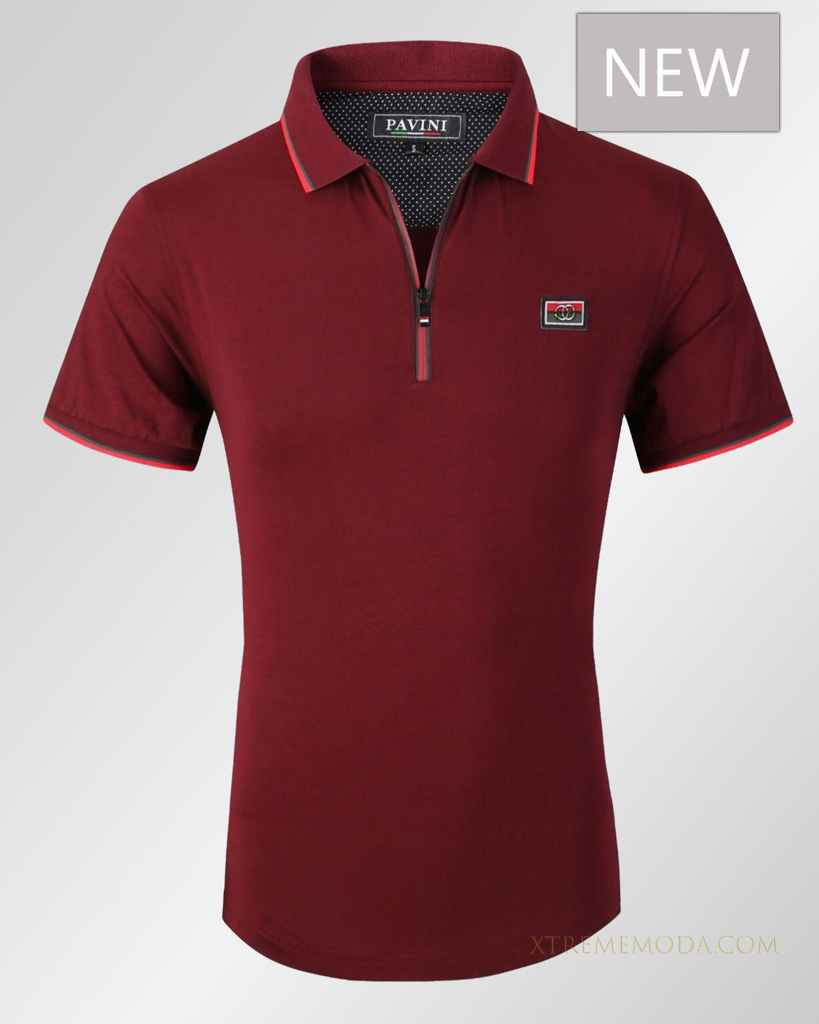Slim fit zip and patch polo shirt  Burgundy