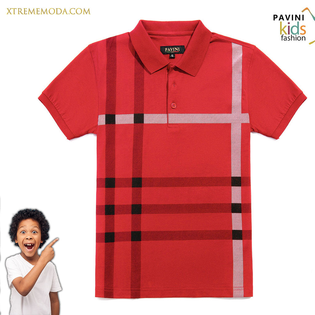 Kids polo shirt fashion print design Red