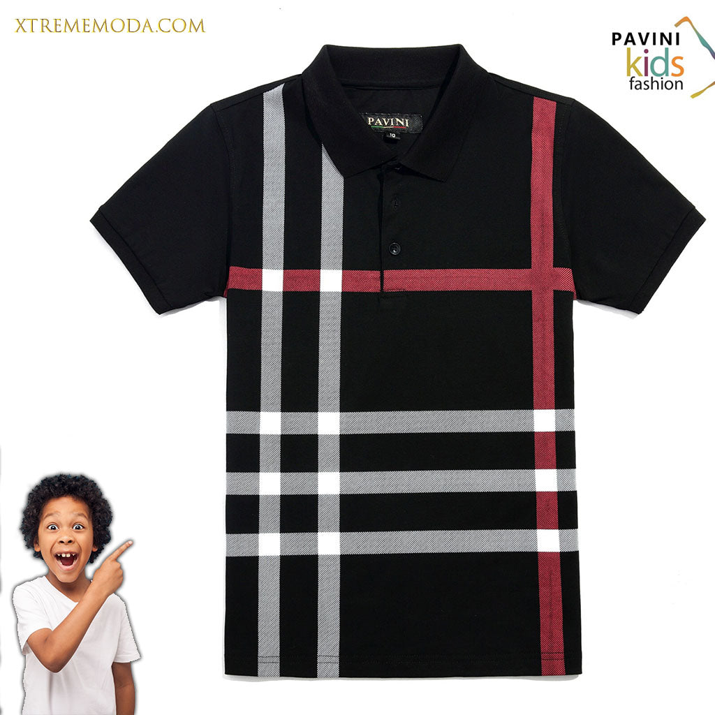 Kids polo shirt fashion print design Black