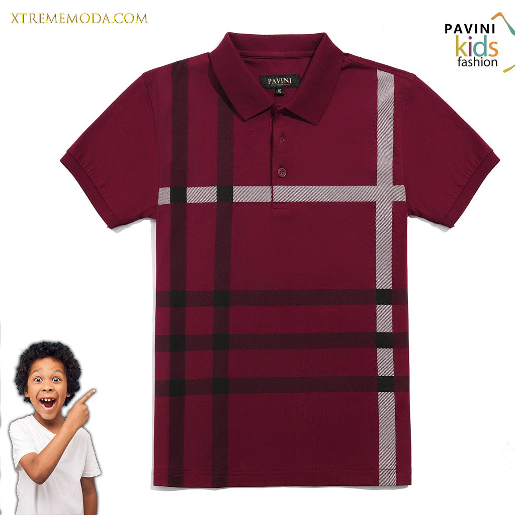 Kids polo shirt fashion print design Burgundy