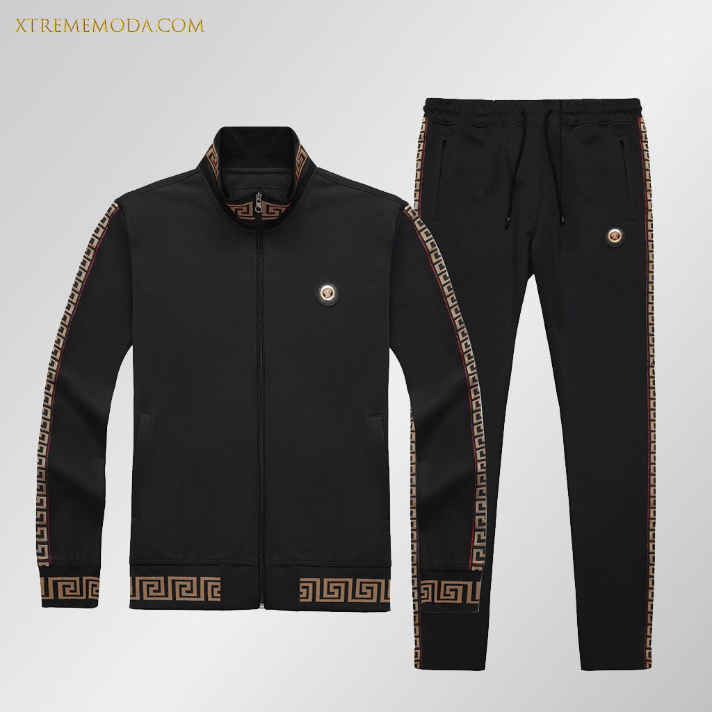 Slim fit  track suit greek design black