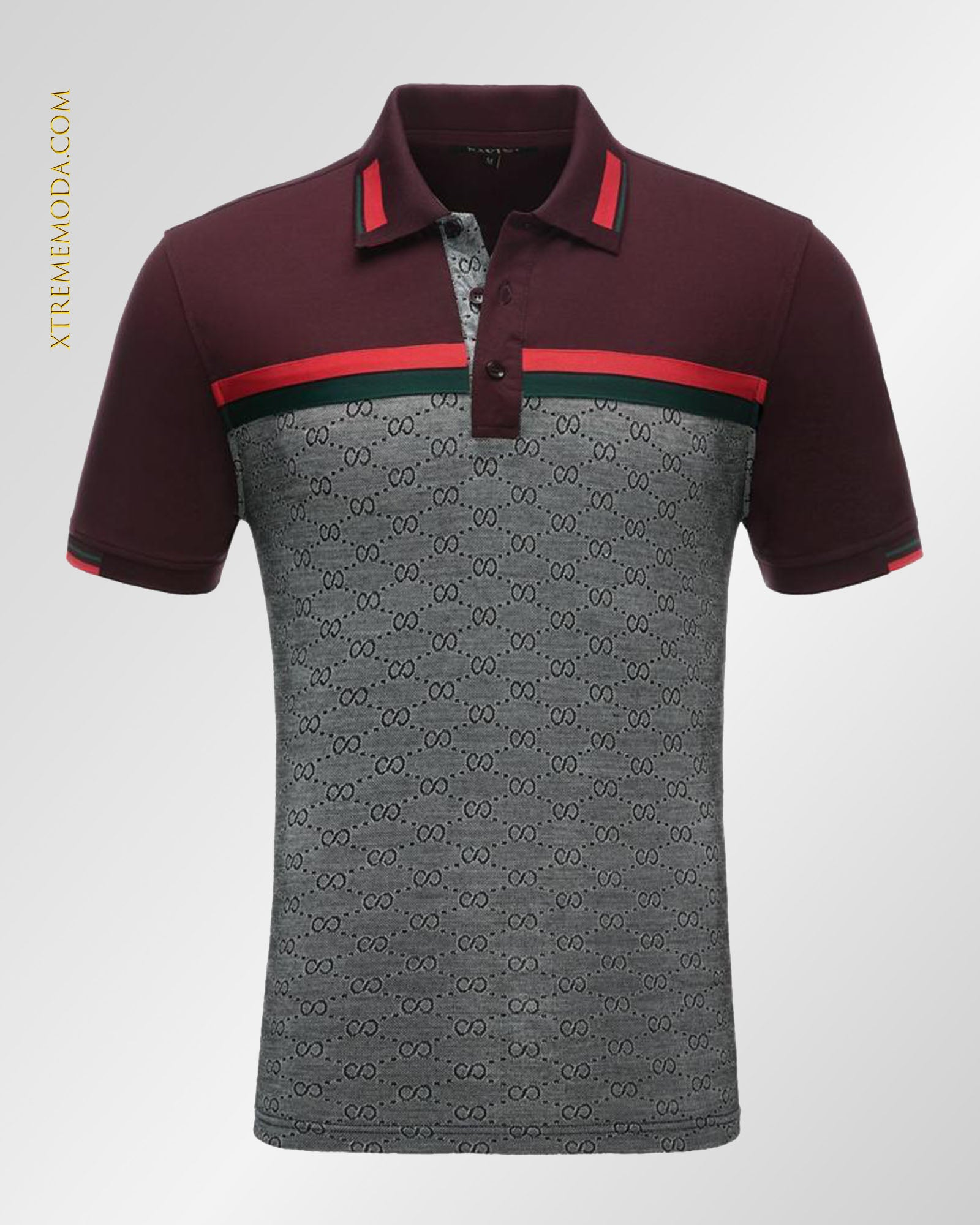 Eight pattern polo shirt Burgundy
