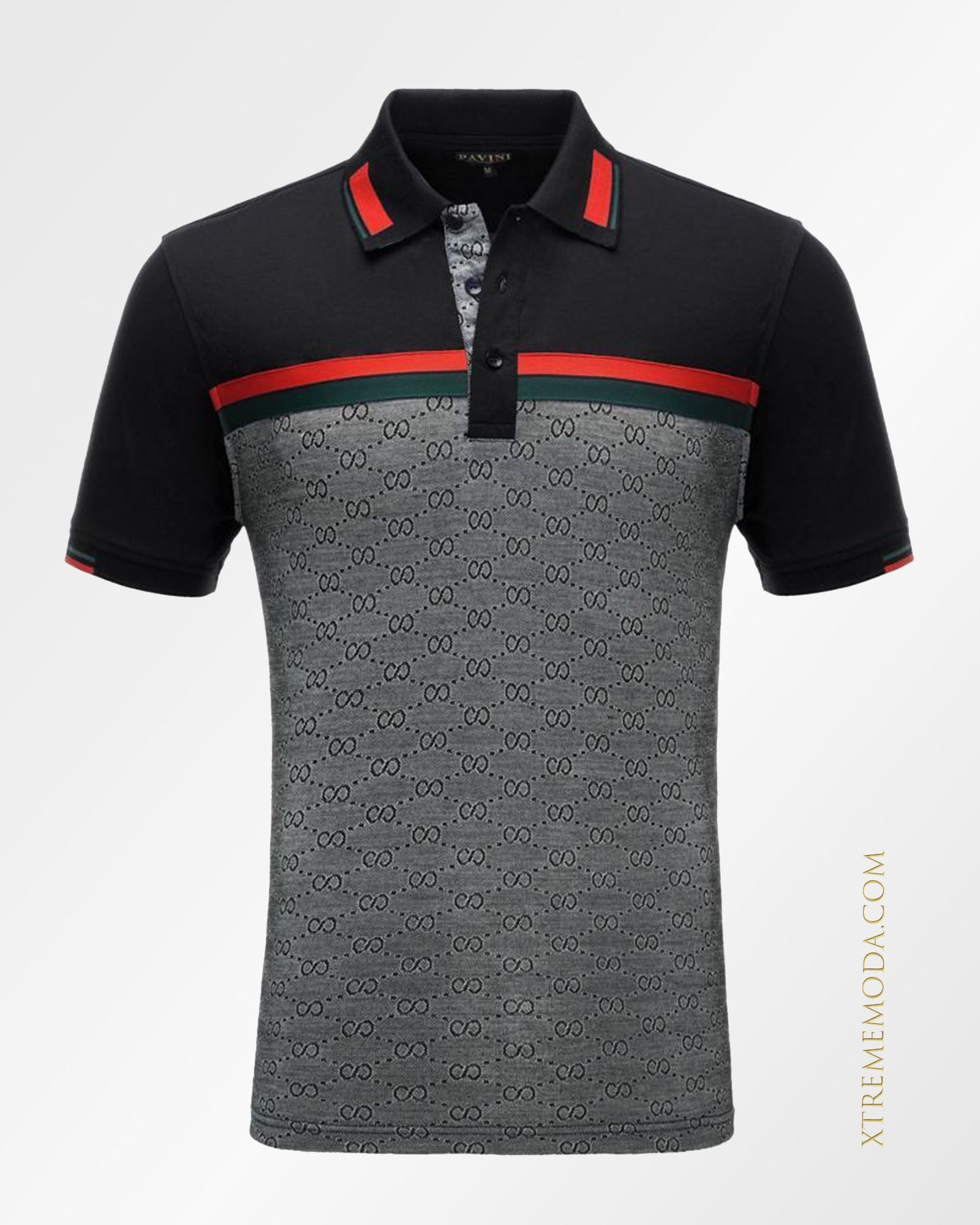 8 pattern polo shirt Black