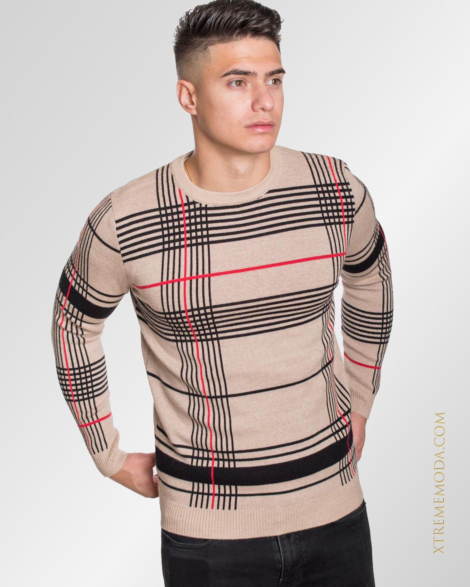 Slim fit  check sweater 2.0 Beige