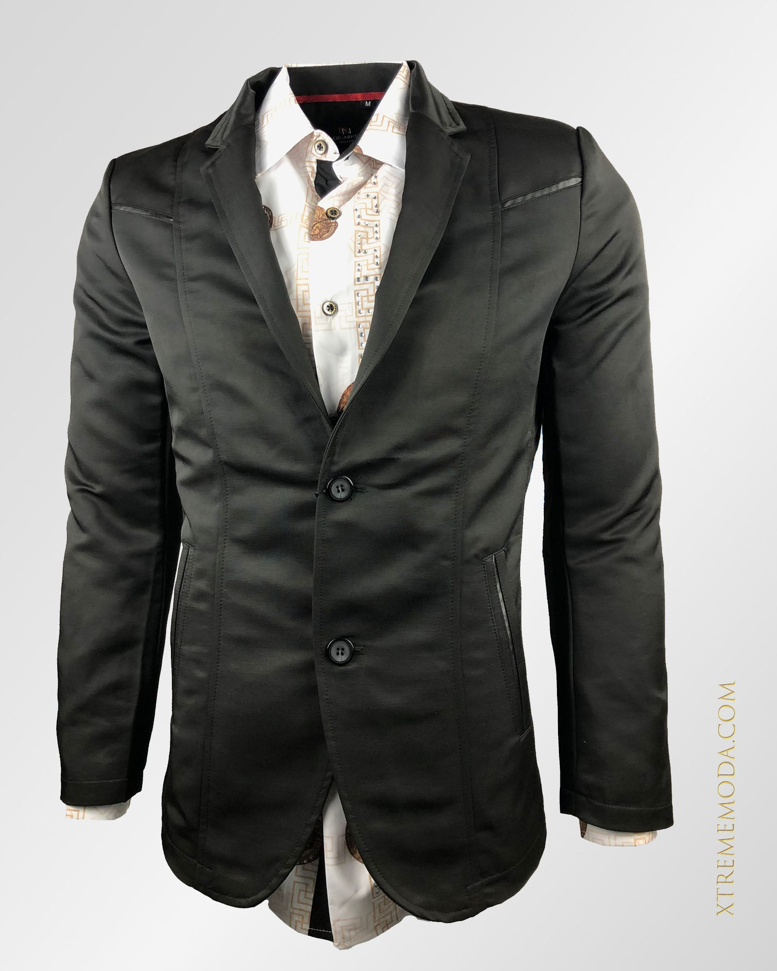 Slim fit shiny Blazer Black