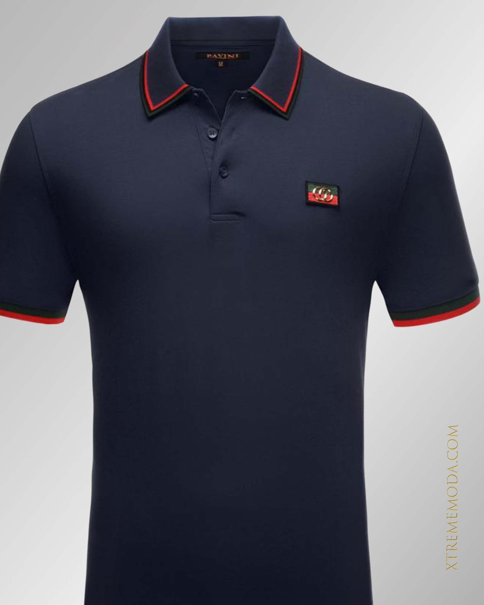 slim fit  patch Italy design polo shirt Navy