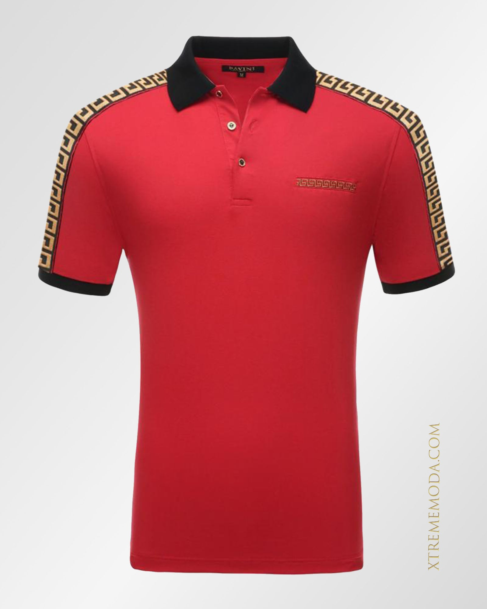 Slim fit  greek design polo shirt Red