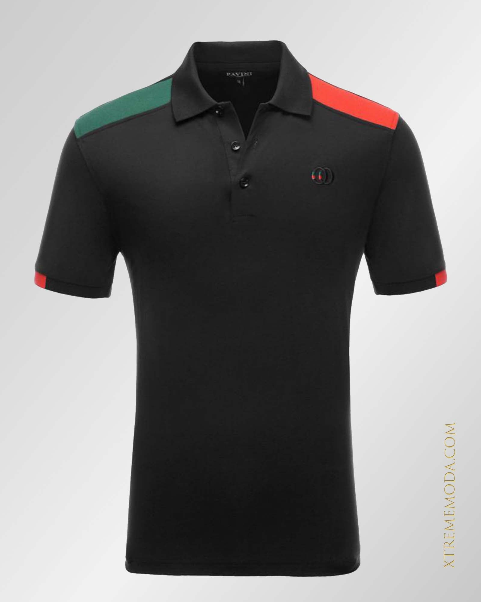 slim fit jersey cotton  polo shirt Black