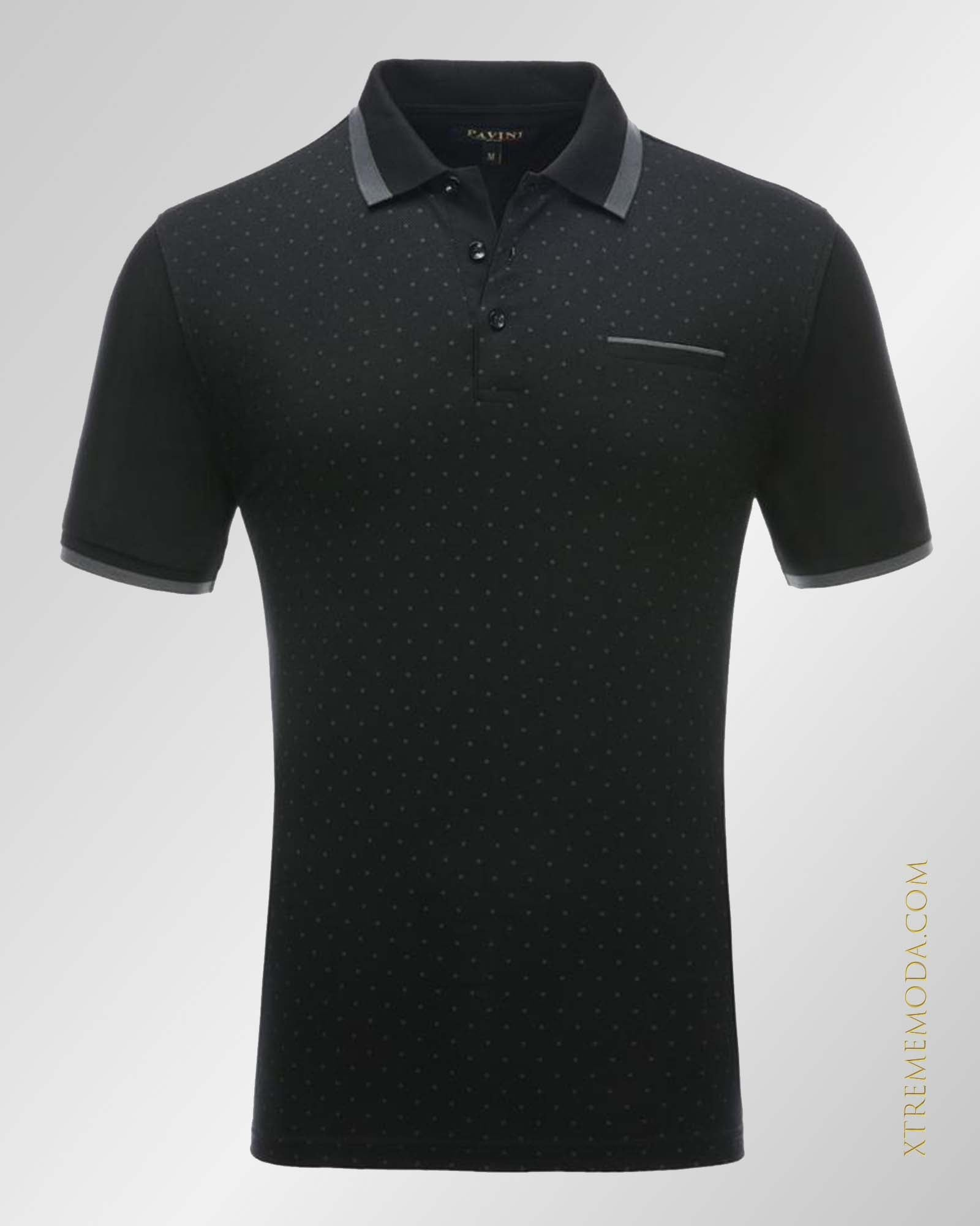 Cotton polka-Dot polo shirt Blk/gry