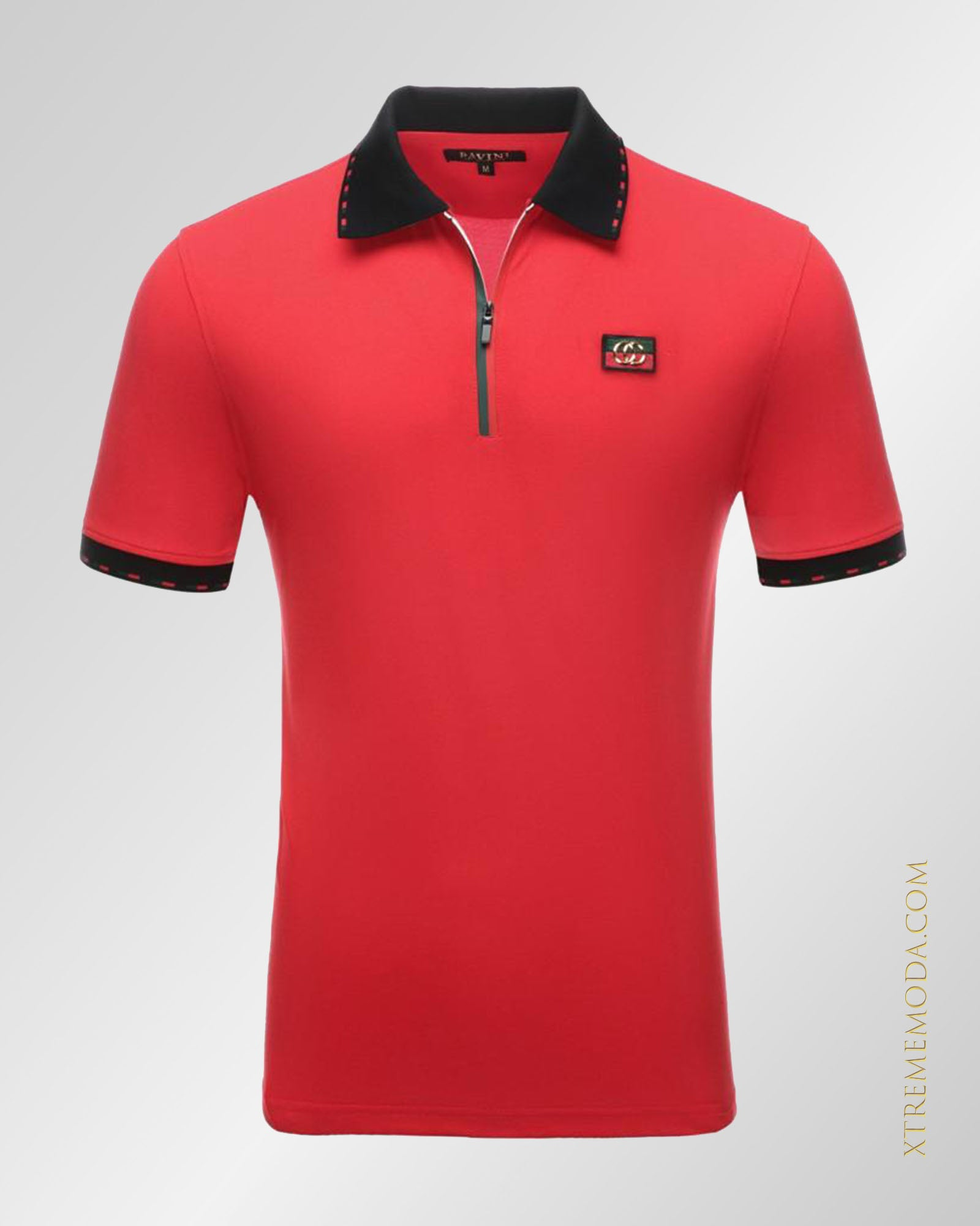 Zip collar jersey polo shirt Red