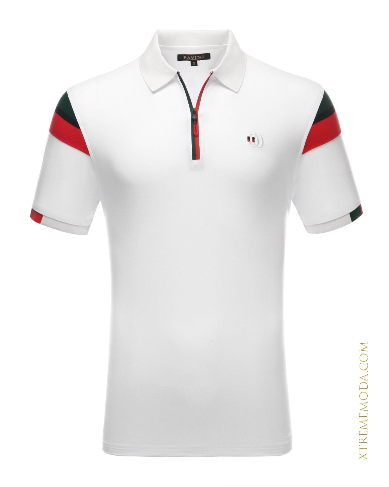 zipper polo shirt WHT