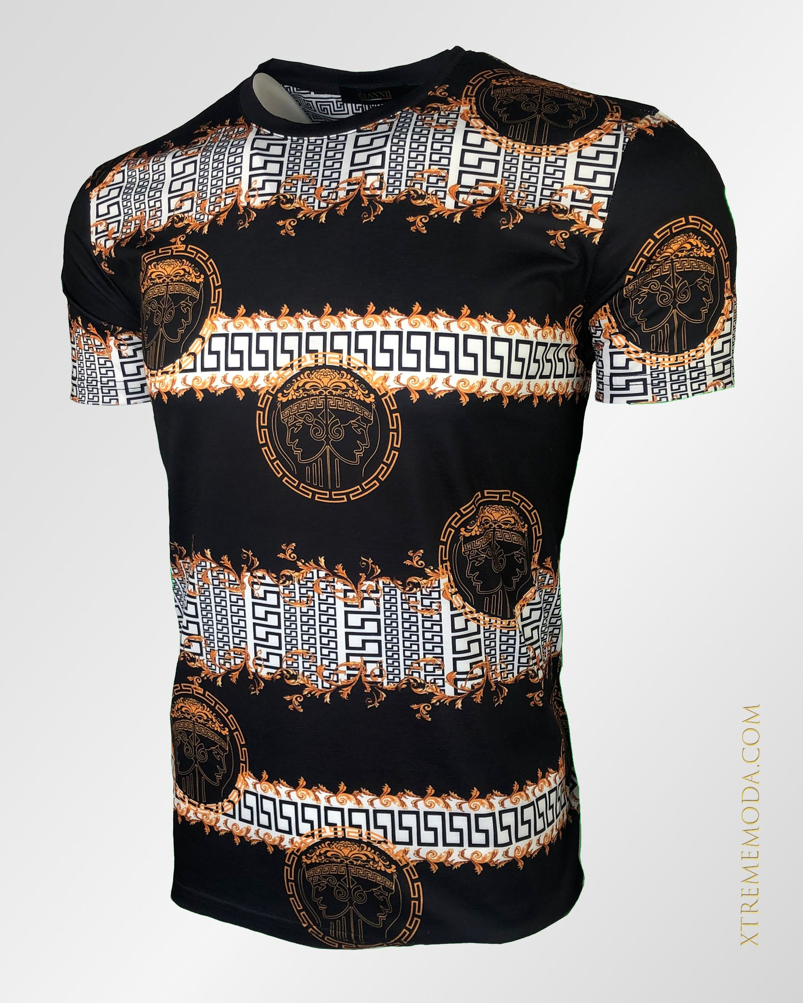 Slim fit greek print T shirt black
