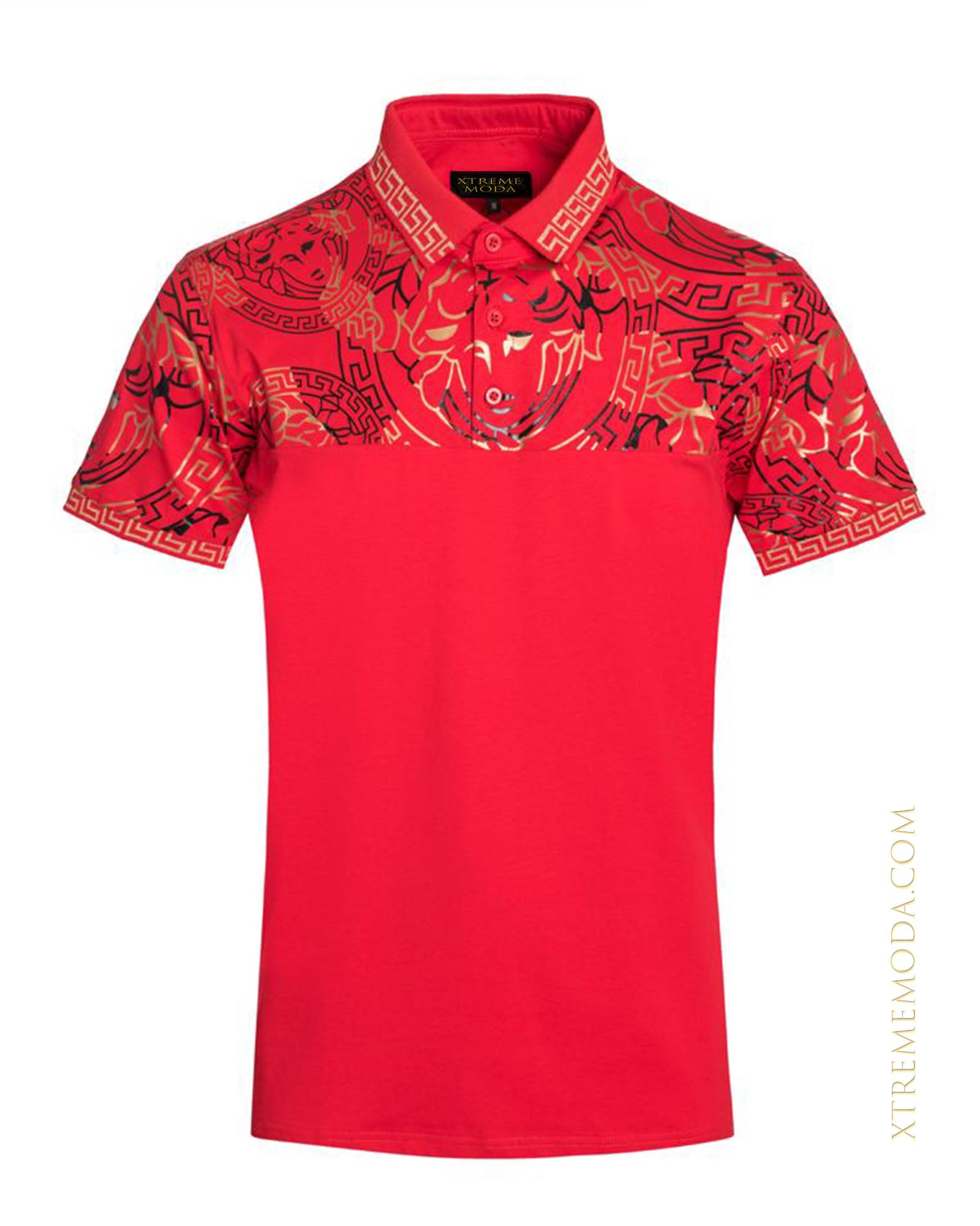 Fashion gold design polo shirt Red