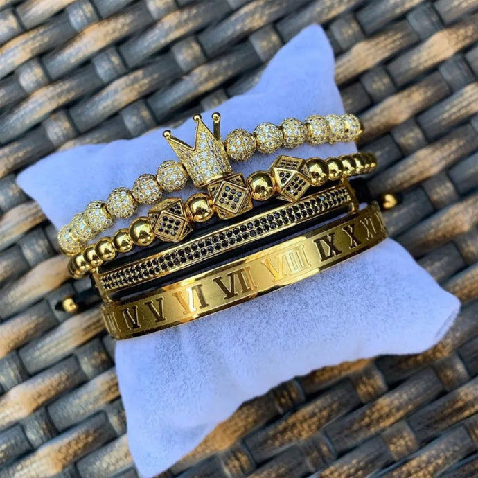 The king's bracelet Gold color 4 pcs