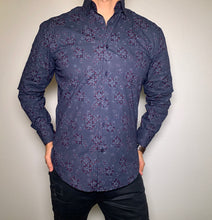 Load image into Gallery viewer, slim fit stretch dress shirt 1002 navy