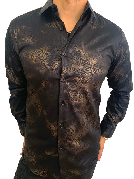 Pavini fashion shirt tipo seda  PS-3312 blk/gold