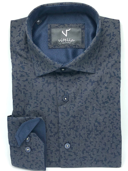 slim fit stretch dress shirt vt 1003 navy