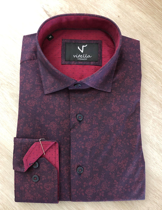 slim fit stretch dress shirt vt 1001 burg.