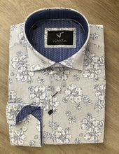 Load image into Gallery viewer, slim fit stretch floral dress shirt 1002 wht