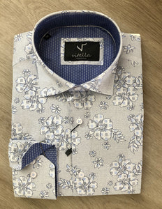 slim fit stretch floral dress shirt 1002 wht