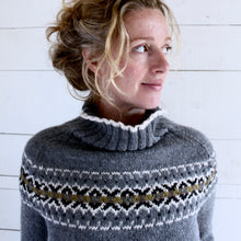 Load image into Gallery viewer, Intricate Fair Isle polo neck (grey/multi)
