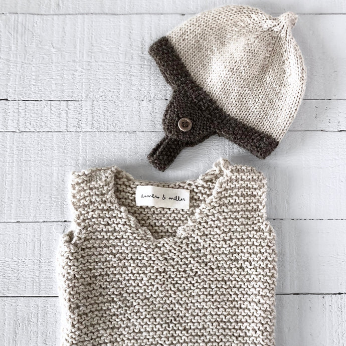 Newborn gift set - hat & vest (cream/brown)
