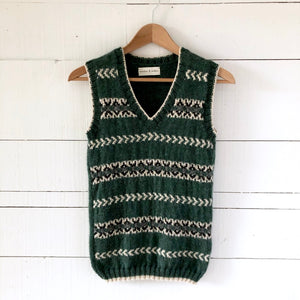 Men's Fair Isle fitted vest SMALL (green/cream - HS)