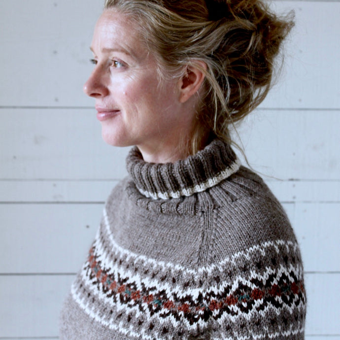 Intricate Fair Isle polo neck (brown/multi)